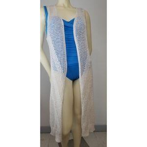 Moral Fiber Crochet Cardigan/Vest, M NWT